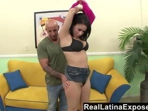 Brazen Latina gets a big load on her camel toe