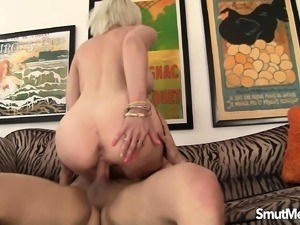 Busty mature lady recruits a young man to drill her juicy honey hole
