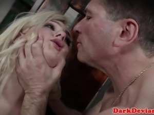 Submissive babe facefucked roughly