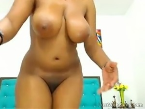 Busty ebony babe teasing on webcam