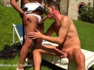 Hot Tgirl outdoor fucking hard a submissive man
