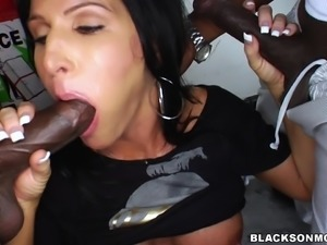 super erotic milf sucks off the black loaders
