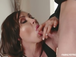 Hot and extremely horny redhead milf is happy to suck meaty cock