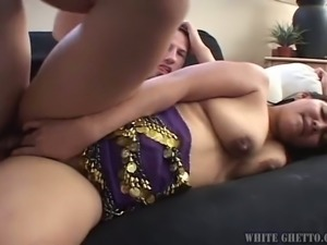Slutty Indian housewife with droopy boobs Honney Bunny likes when white guy...