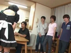 The sexy Japanese waitress became horny after seeing the hot male gang in the...