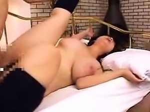 Big breasted Japanese wife gets nailed hard and screams wit