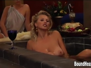 Slave Uses Her Big Natural Tits To Massage Mistress