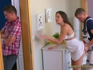 Dane Jones Cheating brunette wife is fucked and creampied by plumber
