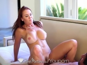 PUREMATURE Melon tits MILF Janet Mason fucked with creampie after bath
