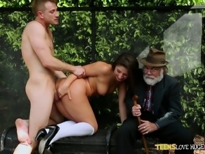 Redhead playful white chick blows dick ofa young man in front of an oldguy