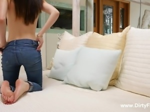 She looks hot in her tight jeans, but she looks even better when she is...