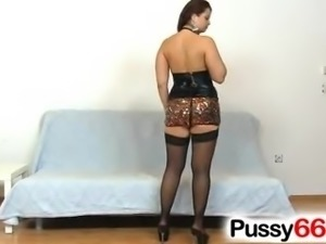 Zoomed pussy of chubby Czech Sirale