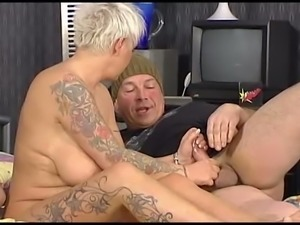 Old freaky couple invites a young man for dirty threesome