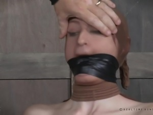 naughty slave gets pantyhose on her head