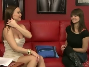 Bodacious dark haired chick strips on her first job interview