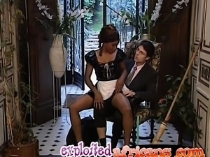 African maid gets filled by long white schlong