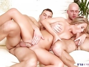 Bisexual jock sucks cock before anal in trio
