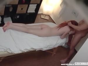 A soothing massage was all that this redheaded Czech beauty wanted. But the...