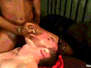 Black Shemale Domme Fucks Slave!